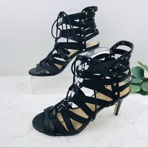 Jessica Simpson Black caged Ankle strapped Heels